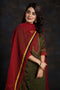 Green Maroon Modal Embroidered Silk Kurta