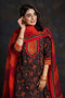 Black Maroon Embroidered Kurta