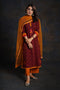 Mahogany Red Bandhej Embroidered Kurta
