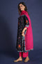 Embroidered Bandhej Kurta Black Grey