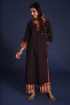 Embroidered Kurta Black Maroon