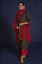 Yoke Embroidered Ajrakh Kurta Black Maroon