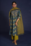 embroidered yoke kurta indigo green
