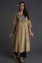 Embroidered Ajrakh Kurta Ochre Geo
