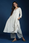 Banjara Cream Jaquard Embroidered Kurta