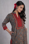 Collar Kurta Grey Maroon (4888132583471)