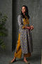 Blue Ochre Yellow Collar Yoke Kurta