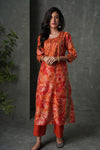 Orange Off White Chanderi Kurta