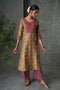 Mustard Rust Embroidered Yoke Kurta