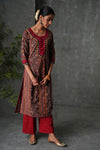 Brown Maroon Embroidered Kurta