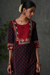 Burgundy Red Embroidered Kurta
