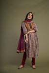 Grey Mauve Embroidered Kurta