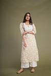 Seri Cream Green Embroidered Yoke Kurta