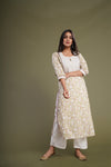 Cream Green Embroidered Yoke Kurta