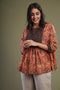 Orange Black Yoke Kurti