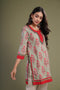 Pista Green Peach Red Kurti