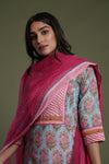 Pink Embroidered Chiffon Dupatta