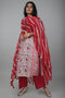 Red White Wide Striped Lehariya Kota Dupatta