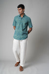 Sea Green Printed Classic  Shirt (4378940866607)