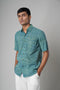 Sea Green Printed Classic  Shirt