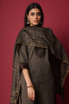 Grey Black Mirror Yoke Rozana Kurta