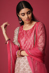 Grey Pink Chanderi Kurta