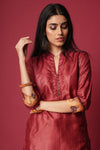 Maroon Collar Button Silk Kurta