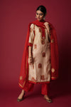 Beige Red Anu Kurta