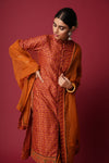 Rust Ochre Yellow Collar Kurta