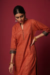 Rust Collar Button Kurta