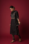 Black Embroidered Yoke Chaubugla Kurta