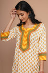 Cream Yellow Cotton Kurta (Set of 3)