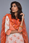 White Orange Cotton Kurta