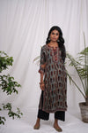 Grey Rust Modal Silk Anu Kurta