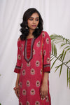 Rouge Pink - Brown Rozana Kurta