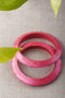 Pink Plain Stud Lac Bangles (Set of 2)
