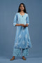 Sky Blue White Embroidered Kurta