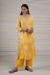 Yellow White Embroidered Kurta