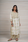Cream Pista Green Kurta
