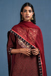 Maroon Black Embroidered Yoke Kurta