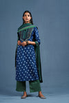 Indigo White Embroidered Yoke Kurta