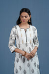 White Black Embroidered Kurta
