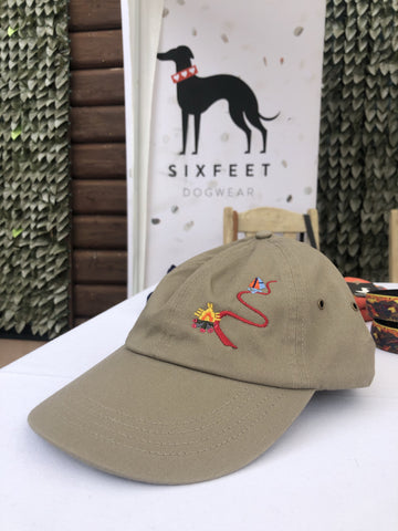 Dog Hiking Baseball Cap With Trail And Magical Deer - khaki - sixfeetdogwear