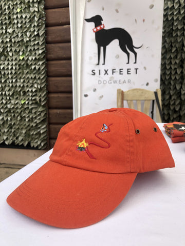 Dog Hiking Baseball Cap With Trail And Magical Deer - orange