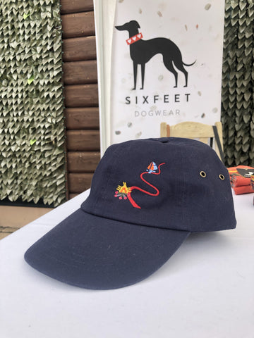 Dog Hiking Baseball Cap With Trail And Magical Deer - dark blue