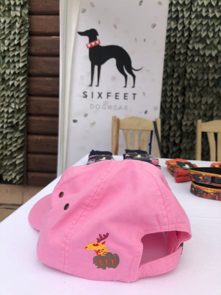 Dog Hiking Baseball Cap With Trail And Magical Deer - pink