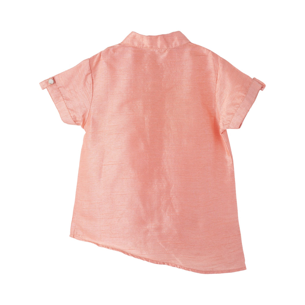 peach silk shirt, kids peach silk shirt, boys peach silk shirt, peach silk shirt for boys, peach color silk shirt for kids