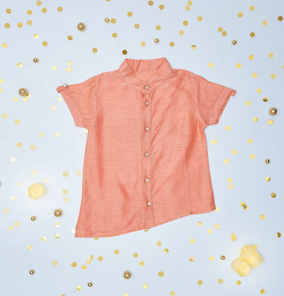 peach silk shirt, kids peach silk shirt, boys peach silk shirt, peach silk shirt for boys, peach color silk shirt for kids.jpg