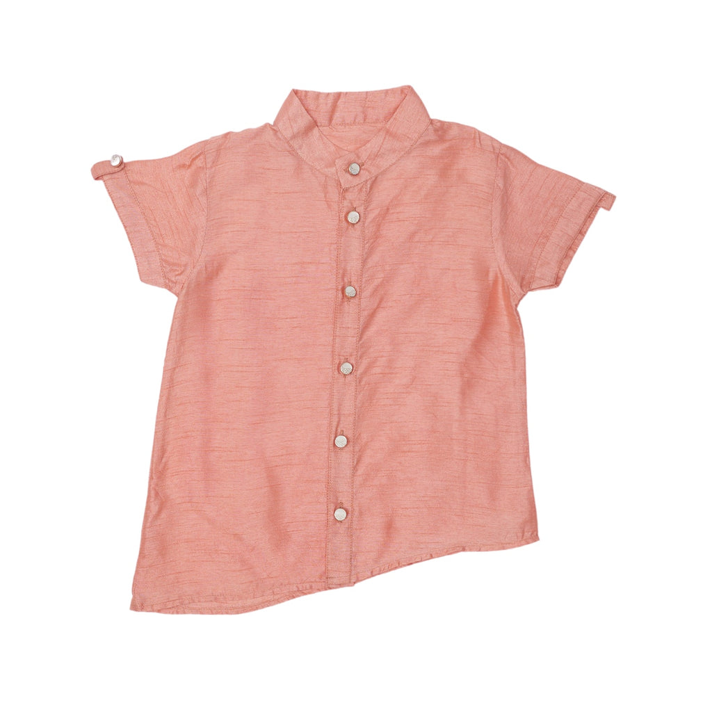 peach silk shirt, kids peach silk shirt, boys peach silk shirt, peach silk shirt for boys, peach color silk shirt for kids.