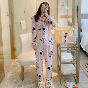 Spring Autumn Long Sleeves Lapel Tops+ Trousers Cartoon Duck Pattern Sleepwear